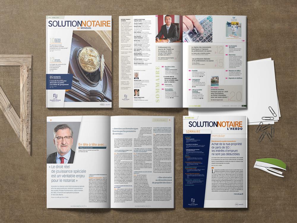 """Magazine mensuel et hebdomadaire """"Solution notaire"""" pour les Éditions Francis Lefebvre."""